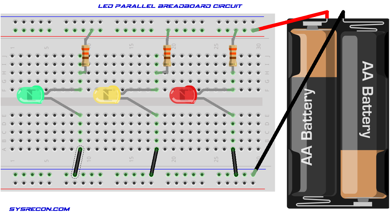 LED Parallel Circuit Breadboard