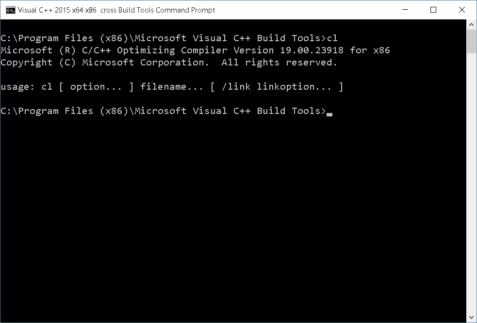 Visual C++ 2015 Build Tools Command Prompt