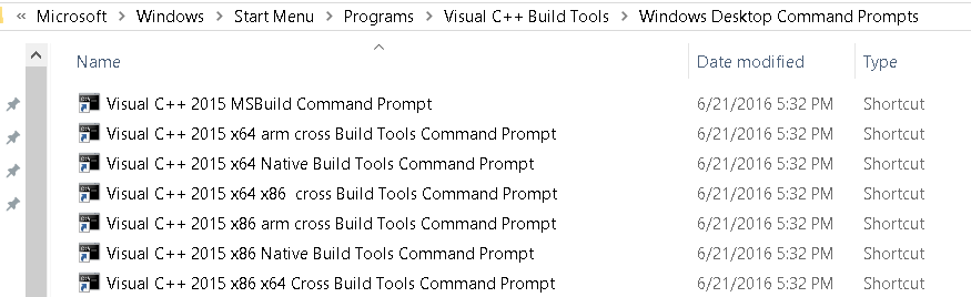 Visual C++ Build Tools Explorer Shortcuts